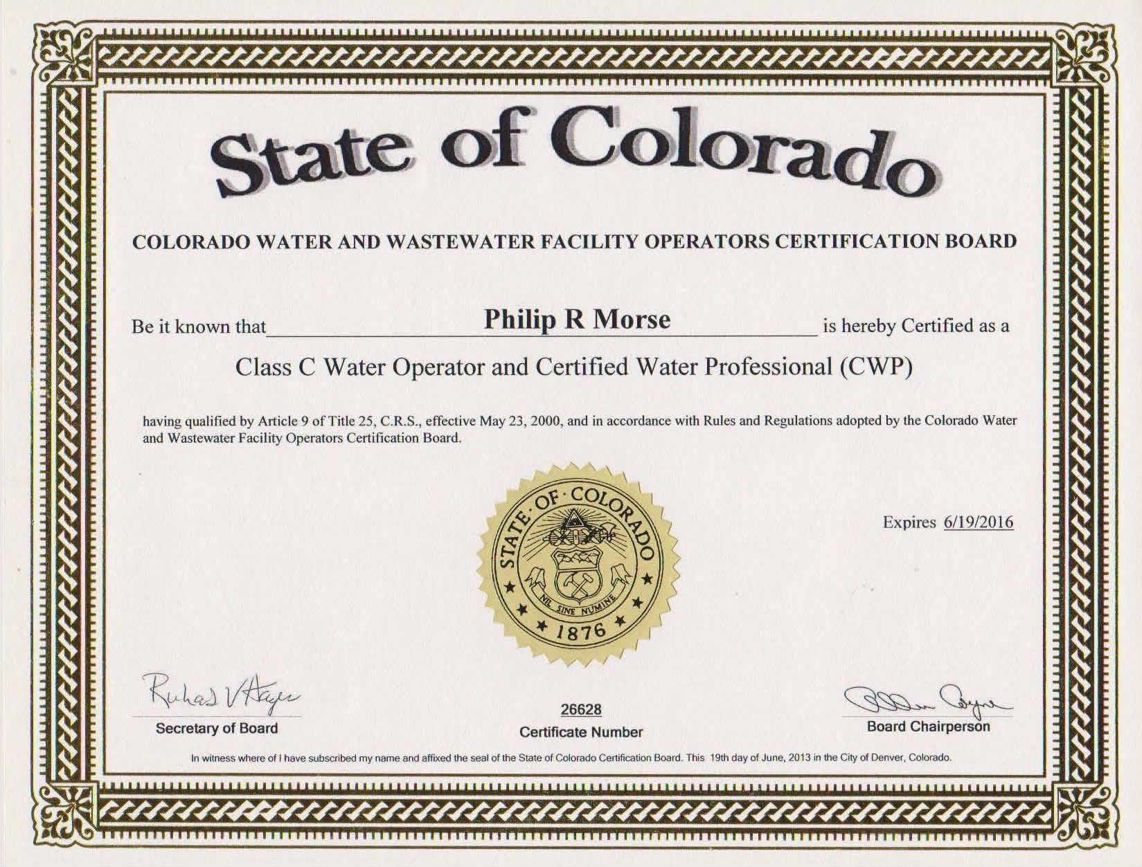 Certifications Water Boy